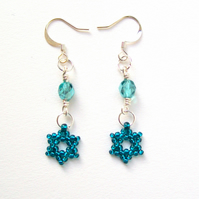 'Falling Star' earrings in teal