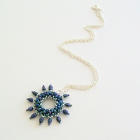 'Astral' Beadwoven Necklace Pendant in Midnight