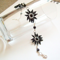 Jet Black 'In Bloom' Floral Bracelet