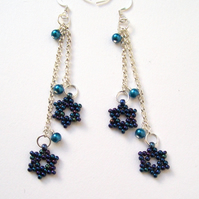 Blue Star Pearl Earrings
