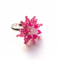 Pink Silver Flower Ring