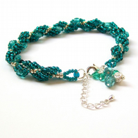 Crystal Silver and Teal Bracelet - Beadwoven Spiral Rope