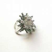 Silver Flower Ring - Beadwoven crystal cluster