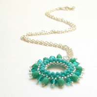 'Halo' Beadwoven Necklace Pendant in Turquoise