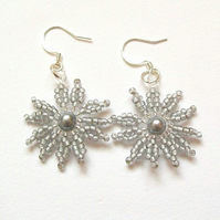 Frosted Silver Flower Burst Earrings