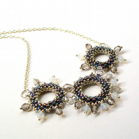 Grey & White crystal necklace - 'Moondust'