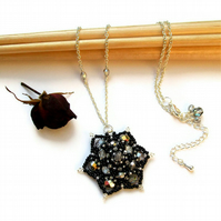 Black & Silver Spike Necklace - 'Athena's Blossom'