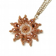 Gazania Flower Necklace - Rose Gold