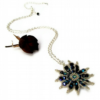 Gazania Flower Necklace - Black & Silver