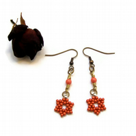 Coral Orange Falling Star Earrings