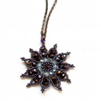 Gazania Flower Necklace - Amethyst