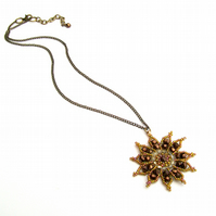 Gazania Flower Necklace - Bronze Topaz