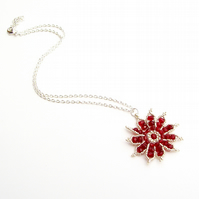 Gazania Flower Necklace - Ruby Red