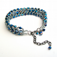 Electric Blue Crystal Flat Spiral Bracelet