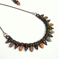 Autumn Leaves Beaded Collar Necklace and Earrings