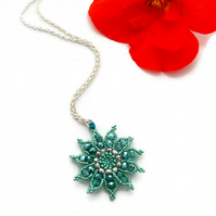 Gazania Flower Necklace - Metallic teal