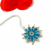 Gazania Flower Necklace - Capri Blue