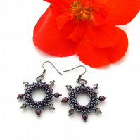 Gunmetal 'Halo' Crystal Earrings