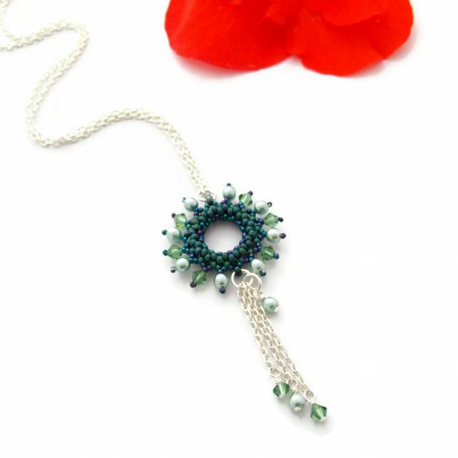 Teal and Seafoam Green  'Halo' Necklace