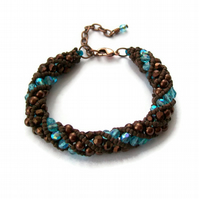 Brown and Turquoise Crystal Pearl Bracelet