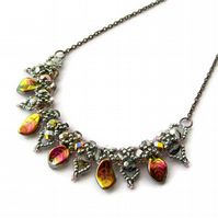 Vitrail - Silver Beaded Leaf Necklace