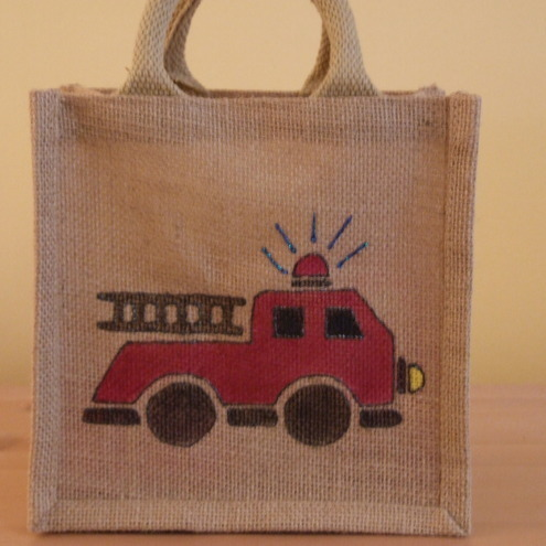Mini Jute Bag - Fire Engine