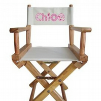Personalised childs wooden directors chair.