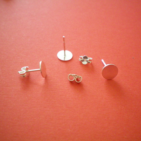 5MM STERLING SILVER 925 FLAT TOPPED STUDS FOR GLASS AND RESIN CABACHONS