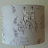 'Country House Meet' drum lampshade for a standard lamp
