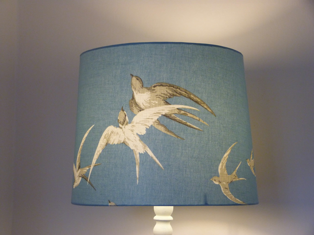 Lampshade for standard lamp. Sanderson 'Swallows' in blue.