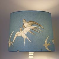 Lampshade for standard lamp. Sanderson 'Swallows' in blue Wedgwood