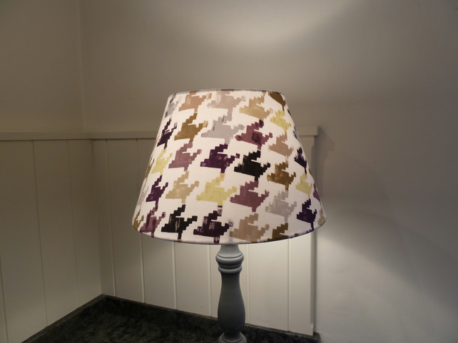Dogtooth fabric covered lampshade - purple, grey, lime green, black, beige