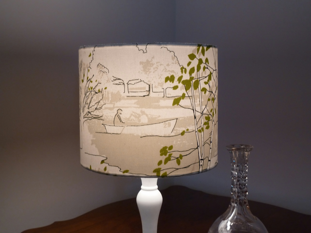 'Brompton Road' fabric covered drum lampshade 25cm in green