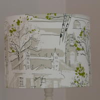 Large lampshade for standard lamp, 'Brompton Road' fabric covered 40cm