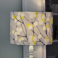 Marimekko 'Snowberry' in yellow, drum lampshade 40cms