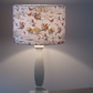 Drum lampshade 30cm covered in cotton fabric showing pheasants & horses & hounds