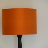 Just Silk Drum Lampshade, Orange Dupion Silk 30cm x 22cm