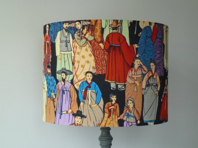'Hanbok'  Drum Lampshade for Standard Lamp  40cm x 30cm  Oriental figures