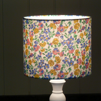 Sweet Flowers blue, yellow, pink drum lampshade 20cm