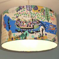 Around the River Lampshade. Drum 40cm x 23cm. Water buffalo and friends