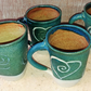 Heart incised large ceramic mugs