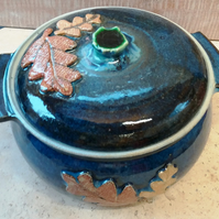 Oakleaf decorated casserole dish