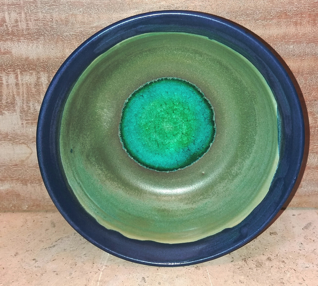 Vibrant glass centered ceramic bowl and shallow dish set