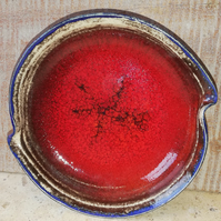 Small brilliant crackle red ceramic dish
