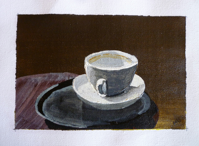 Original art acrylic painting. Finished coffee