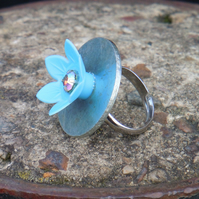 Little blue flower ring