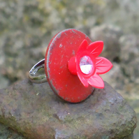 Little red flower ring