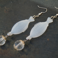 Sushi fish plastic earrings - crystal clear