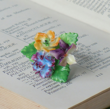 Purple & yellow vintage china flower ring
