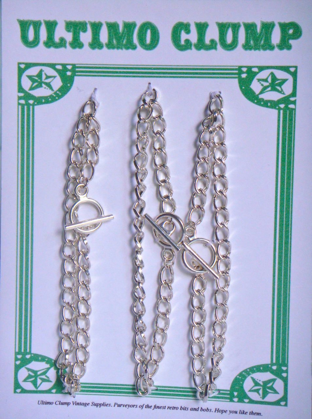 3 Silver Plated Curb Chain Bracelet Blanks